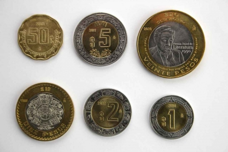 Several Mexican coins.