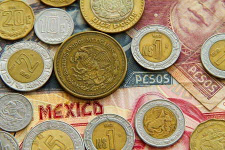 An array of Mexican coins and bills.