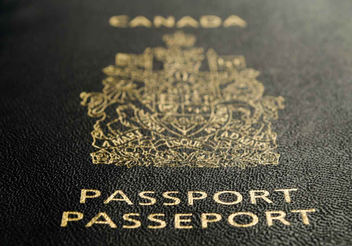 A zoomed in photograph of a Canadian passport.