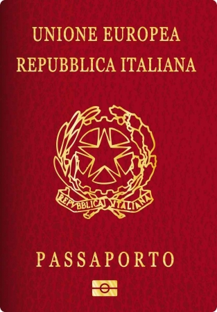 A graphic of an Italian passport.