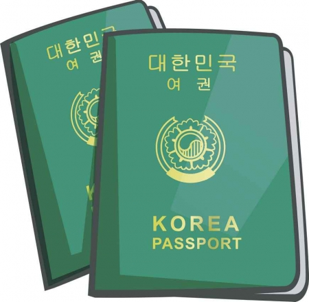 A Korean passport graphic.