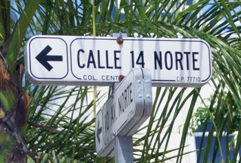 A street sign on fifth Avenue in Playa Del Carmen.