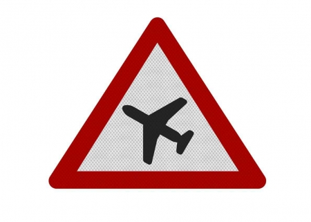 A caution airplanes sign graphic