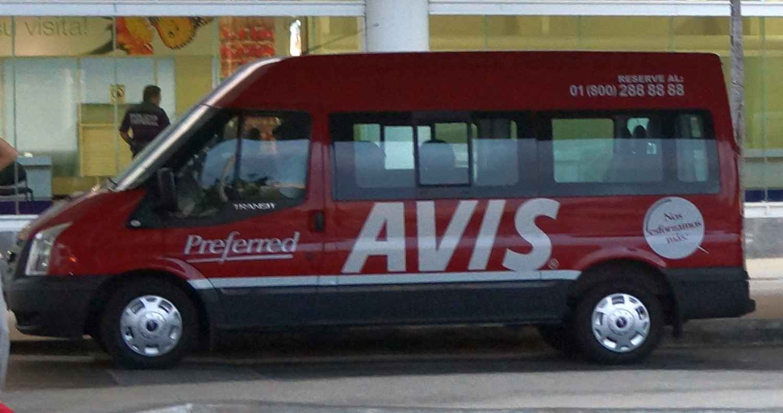 An Avis airport transfer van at the Cancun international Airport.