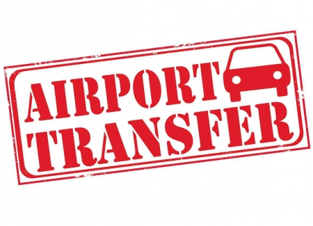 A graphic showing an airport transfer with a car.