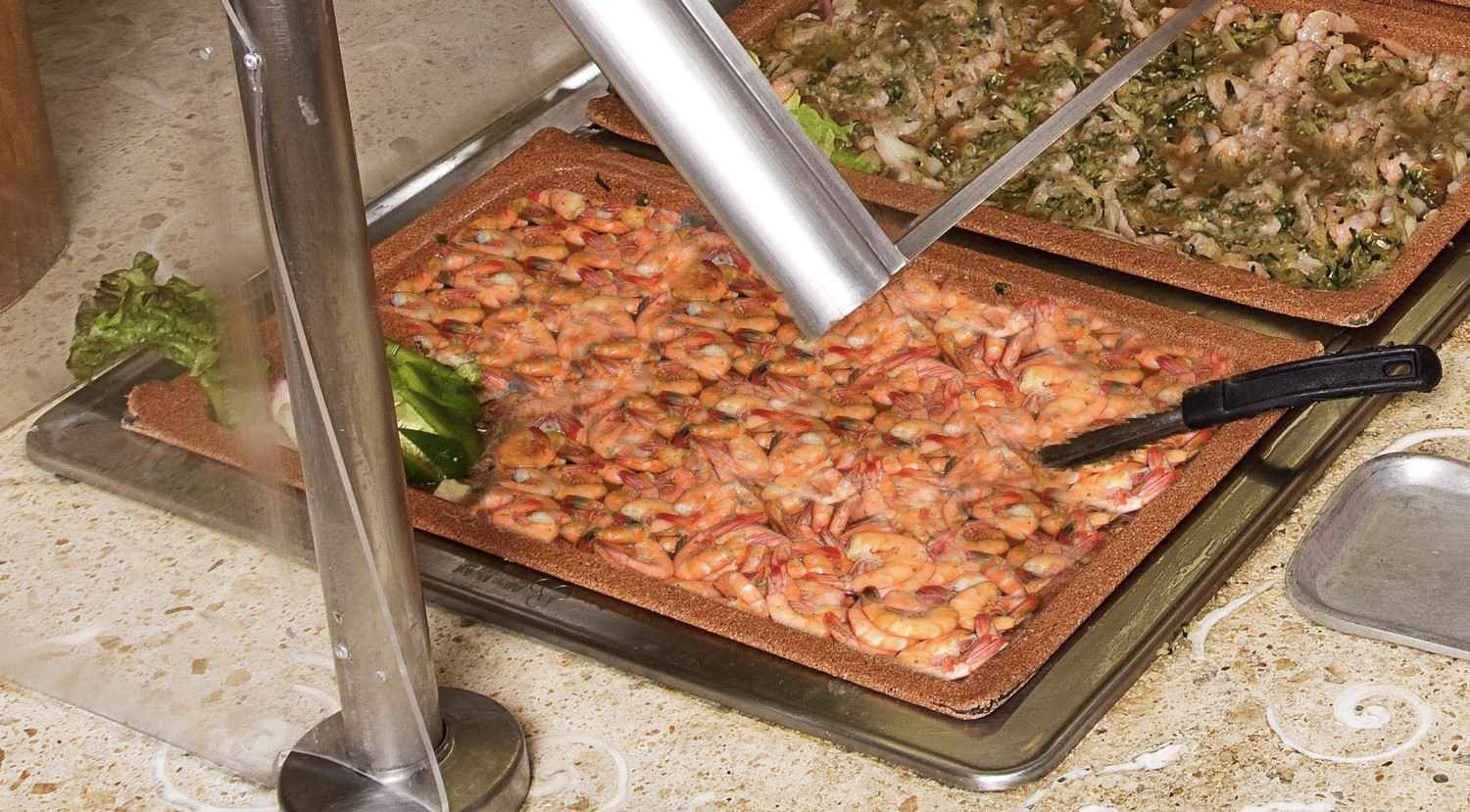 A large pan of fresh shrimp at a restaurant in Playa Del Carmen.