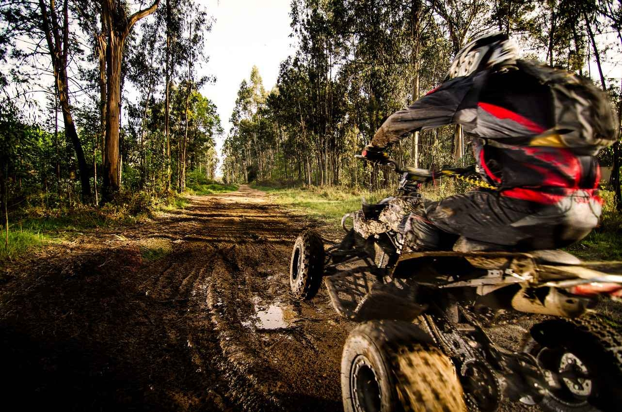 A man riding an ATV on a muddy jungle trail.