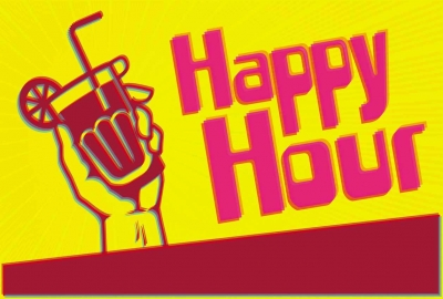 A 3-D graphic that says, HAPPY HOUR.