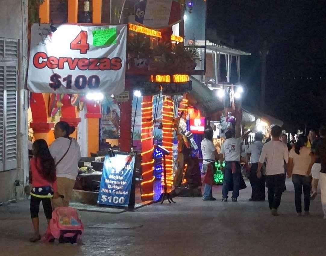 Four beers for 100 pesos in downtown Playa Del Carmen
