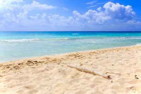 The beautiful white sand beach on the Playa Del Carmen shore.