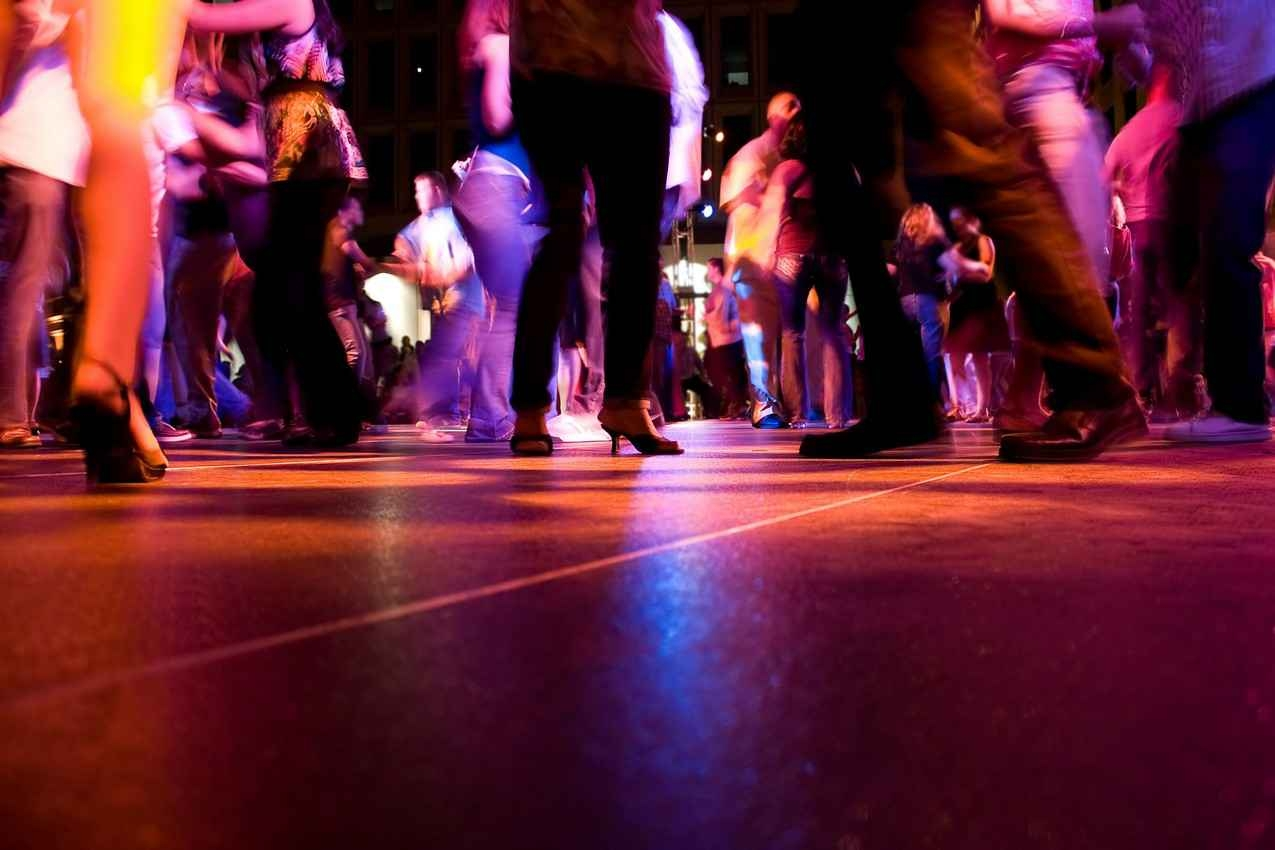 A busy salsa dance floor in Playa Del Carmen.
