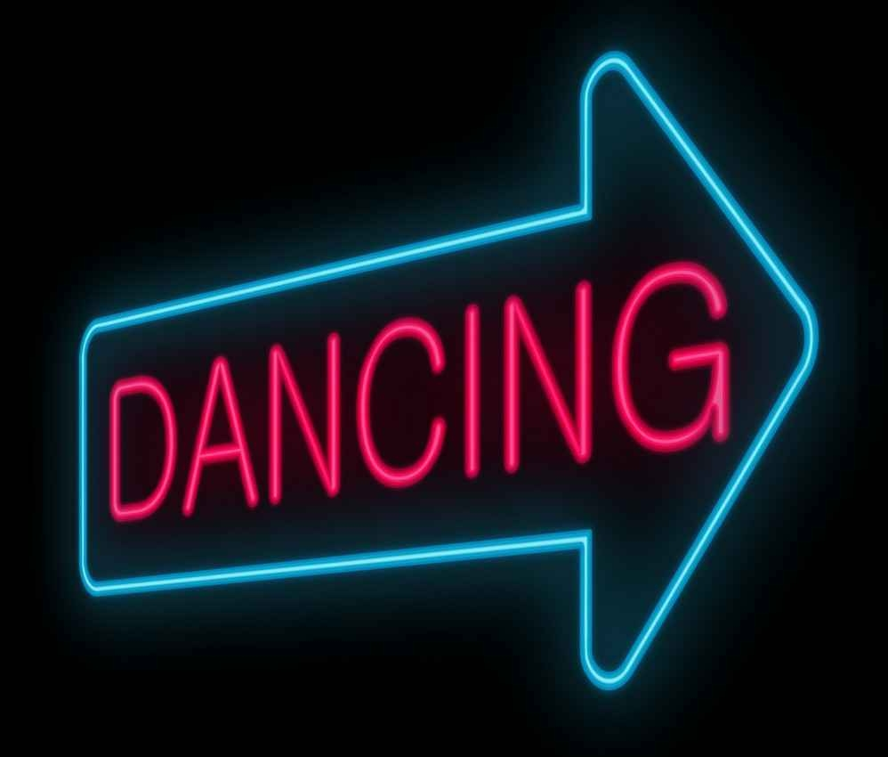 A neon dancing sign.