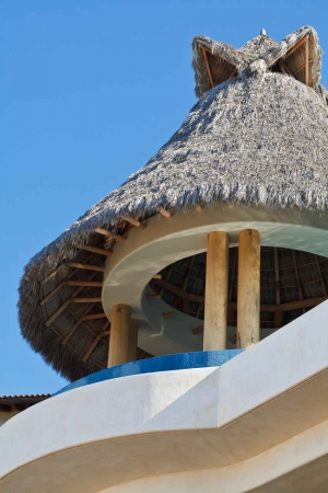 A palapa roof on a condo.