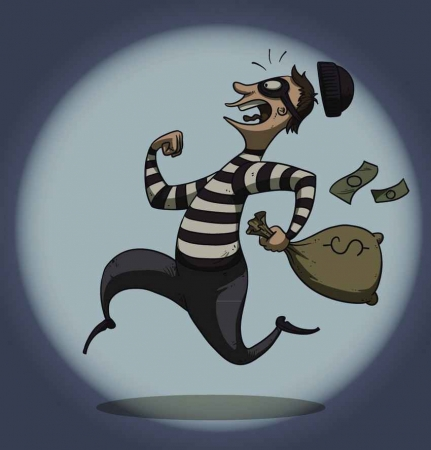 A bank robber running with a bag full of money.