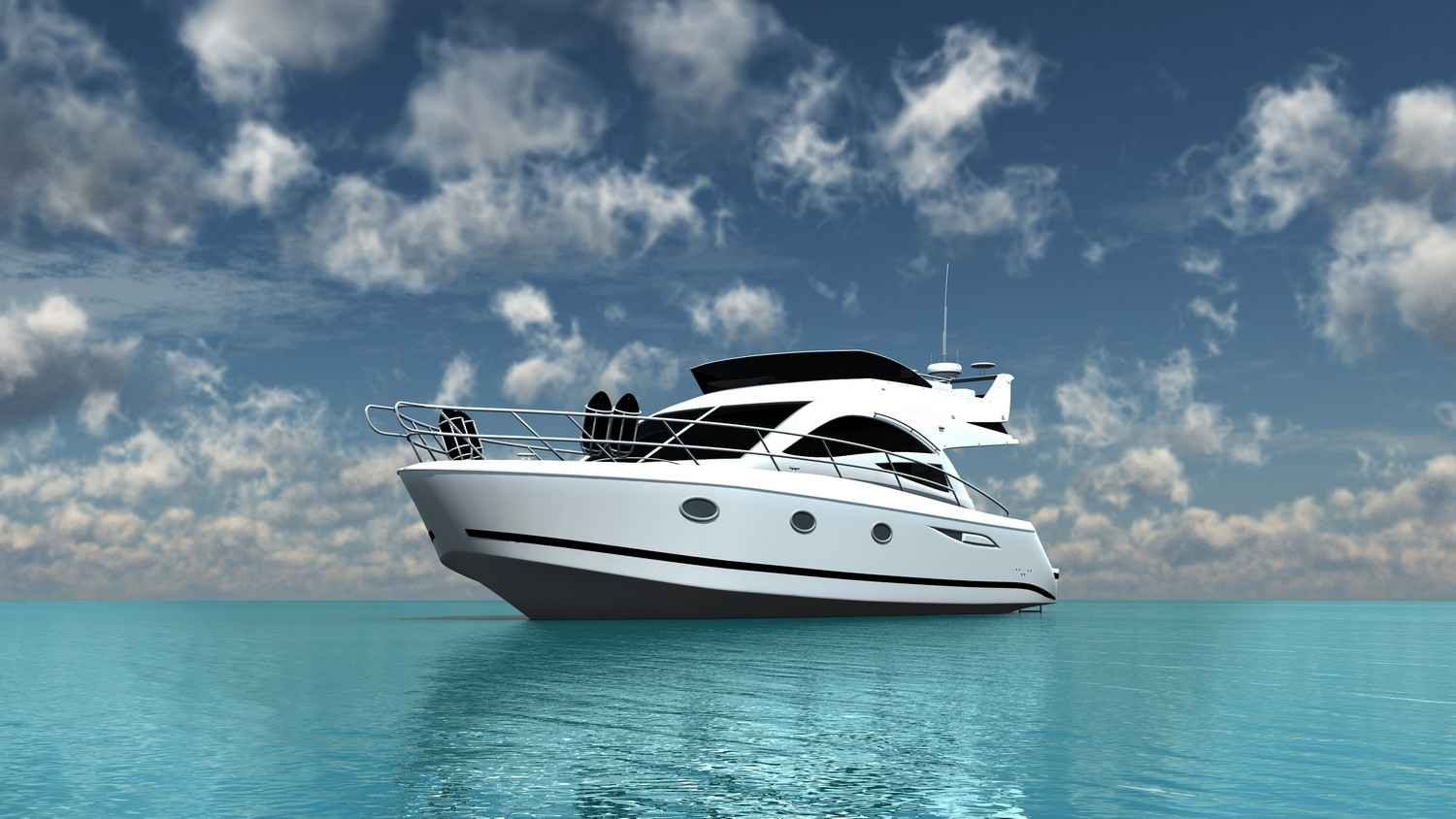 A beautiful yacht on the sea that is ready for a deep sea fishing trip.