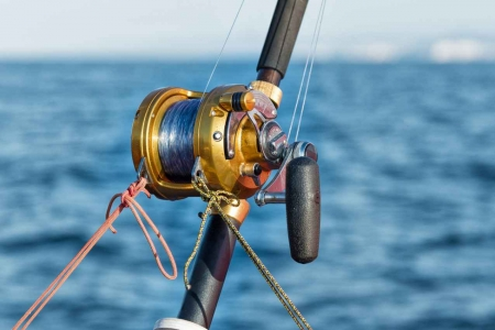 A fishing pole with a reel with the ocean in the background.