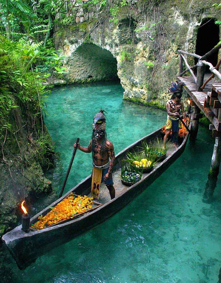 A reenactment of a Mayan ritual in Rio Secreto.