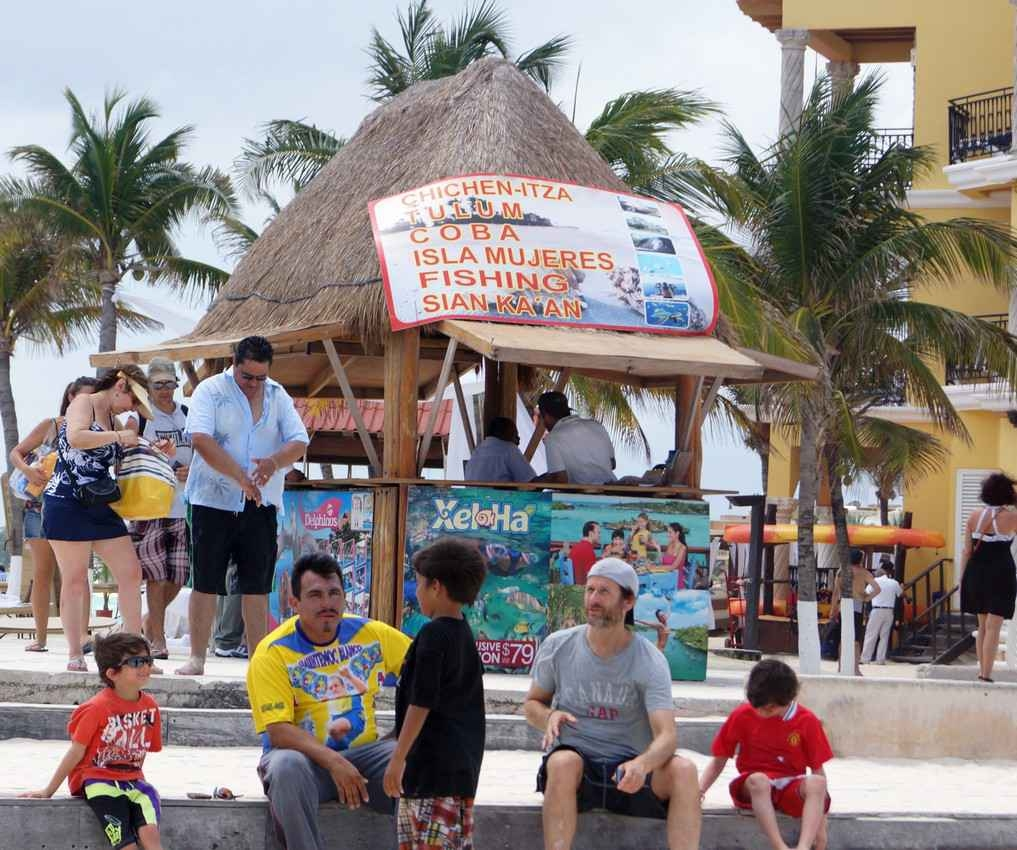 A booth offering tours near the beach in Playa Del Carmen.