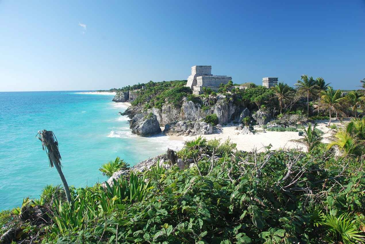 The famous Tulum ruins and beach.