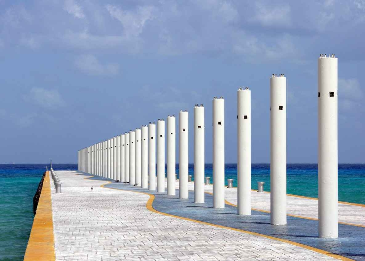 The ferry dock in Playa Del Carmen completely empty.