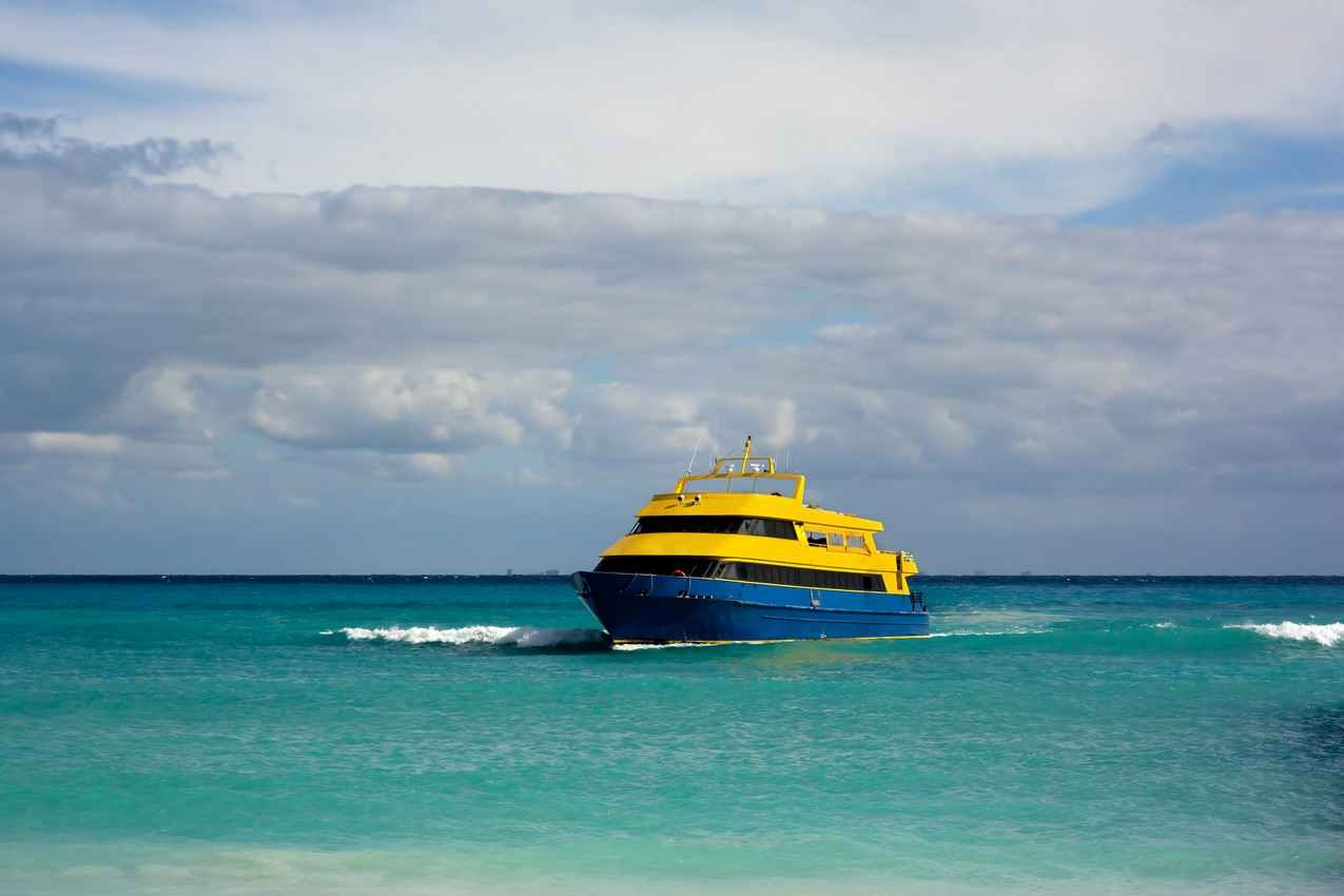 A ferry boat recently arriving in Playa Del Carmen from Cozumel.