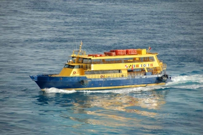 A ferry boat in the Caribbean Sea.