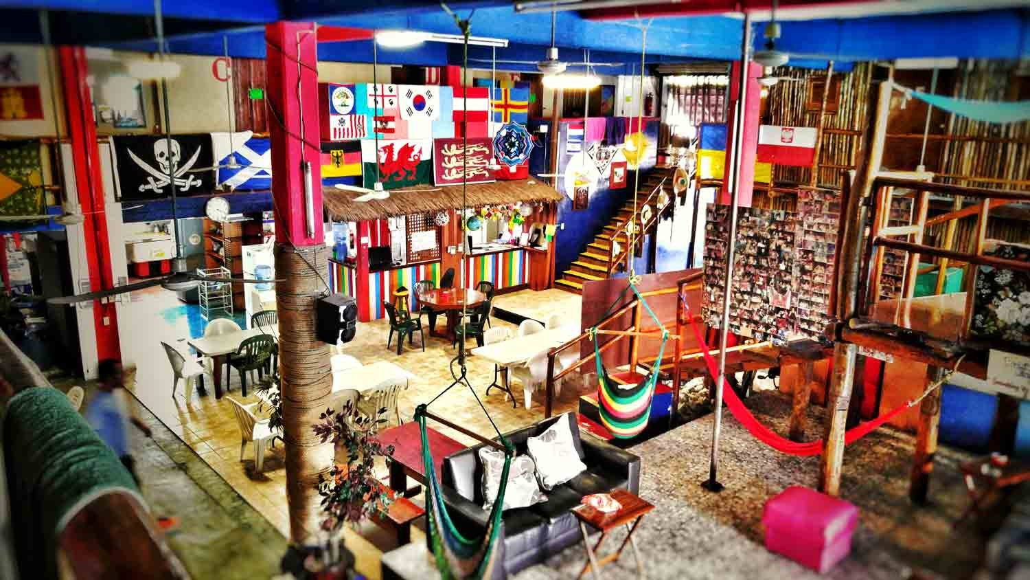 The interior of Hostel Playa in Playa Del Carmen Mexico.