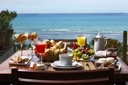 A delicious breakfast at a hotel overlooking the Caribbean Sea.