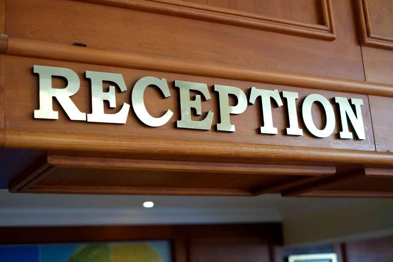 A hotel reception desk.