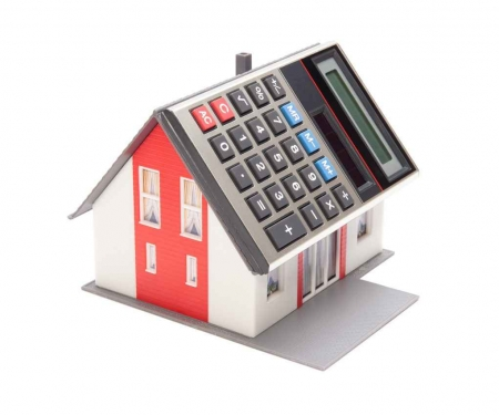 A graphic of a house with a calculator roof.