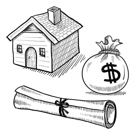 A graphic of a miniature house with the title and some money next to it.