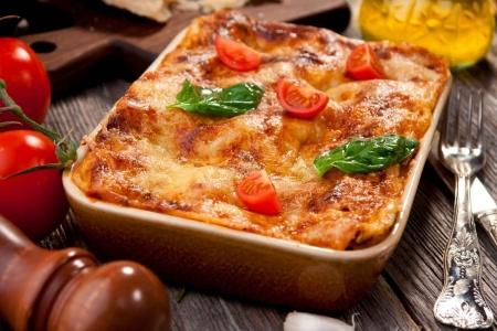 A single serving of lasagna.
