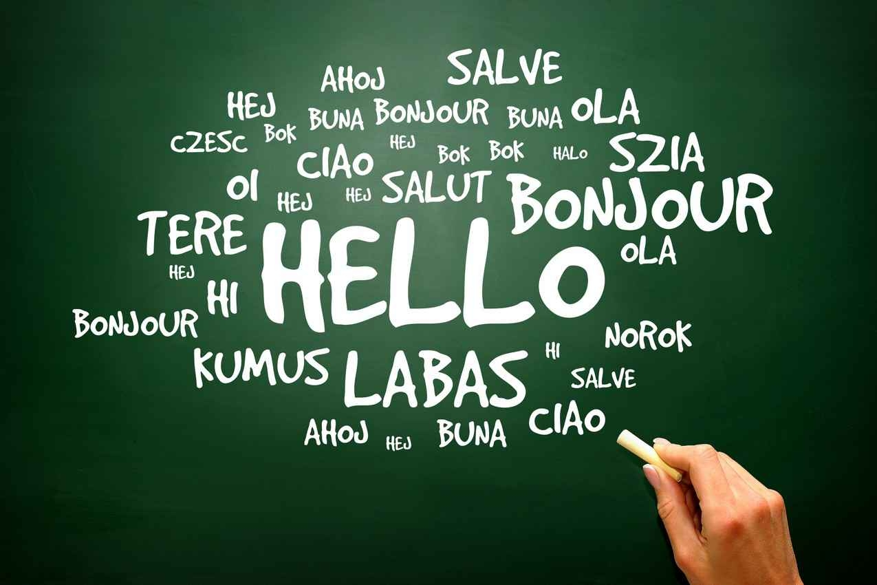 The word hello written in multiple languages on a green chalkboard.