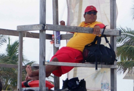 A lifeguard on duty at the Playa Del Carmen beach.