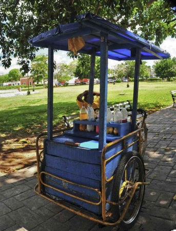 A three wheeled bicycle vendor selling drinks at a local park.