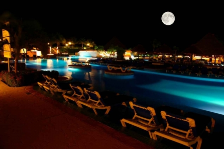 An amazing moonlit night at a local resort.
