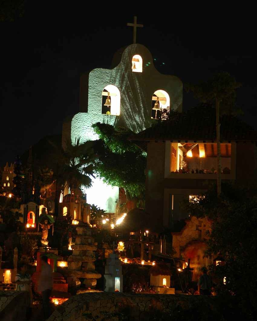 A church and a graveyard near Playa Del Carmen.