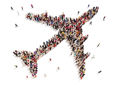 A graphic showing an airplane shape formed by many people standing in different places.