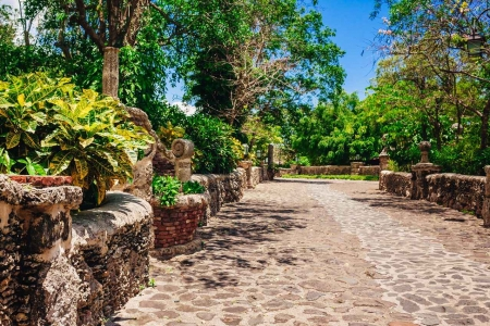 A cobblestone driveway seen at an exclusive estate.