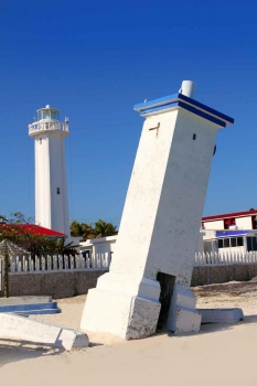 Another view of the famous leaning lighthouse on the Puerto Morelos shore.