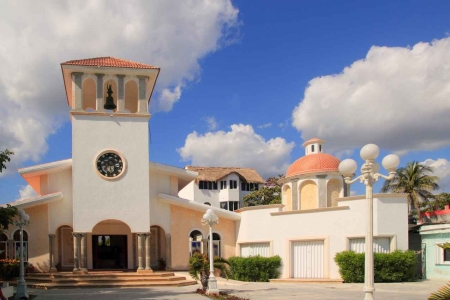 A beautiful church near the Puerto Morelos town square.