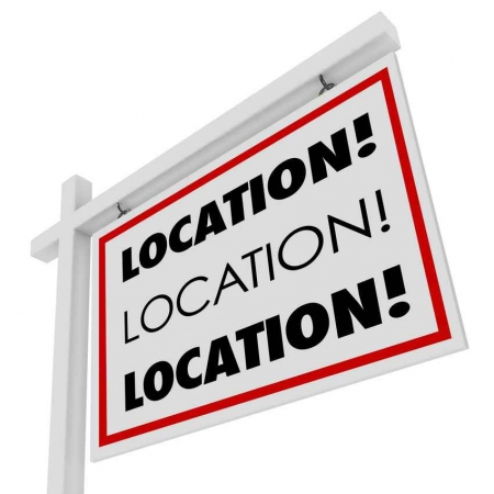 A location location location real estate sign.