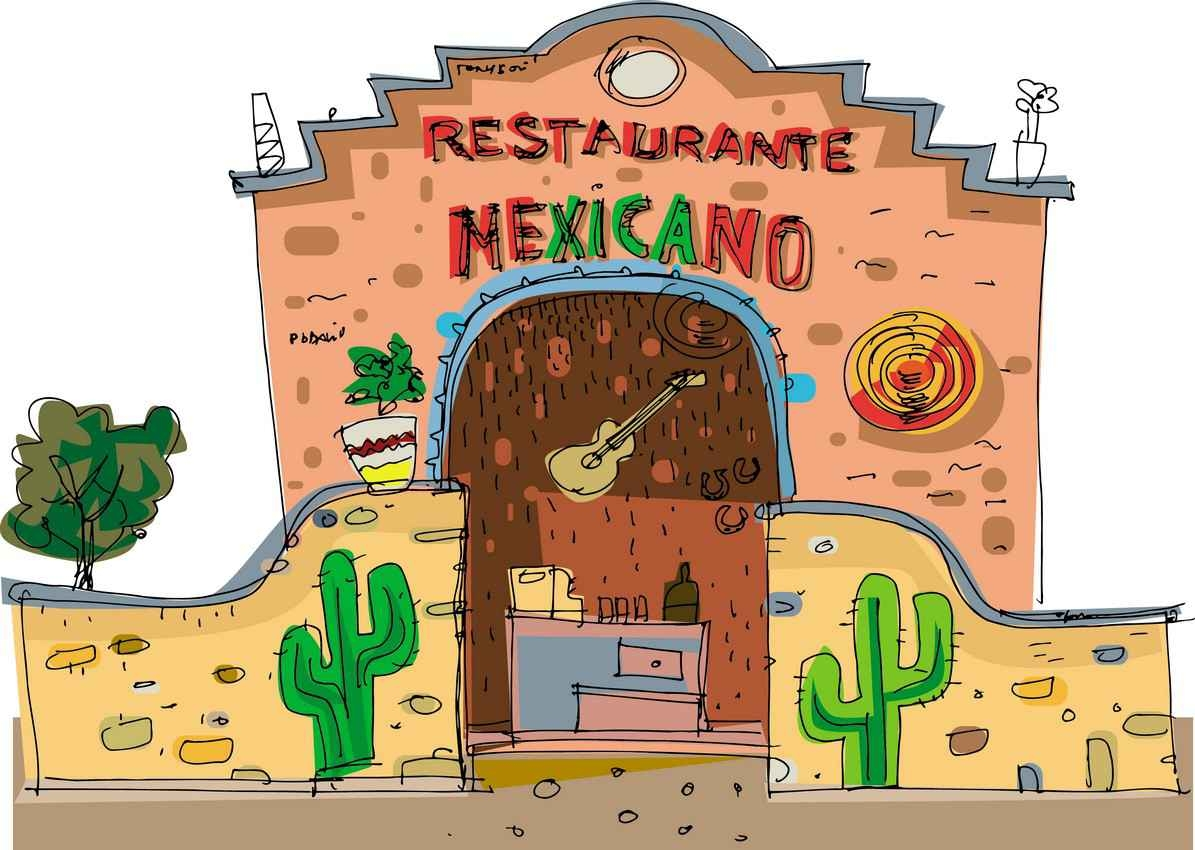 A drawing graphic of a Mexican restaurant.