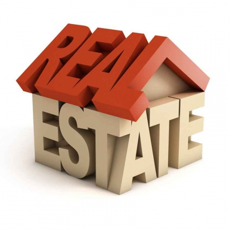 A graphic showing the words, REAL ESTATE, formed into a house.