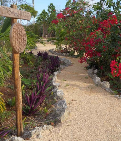A garden walkway on a strip of land in the Riviera Maya.