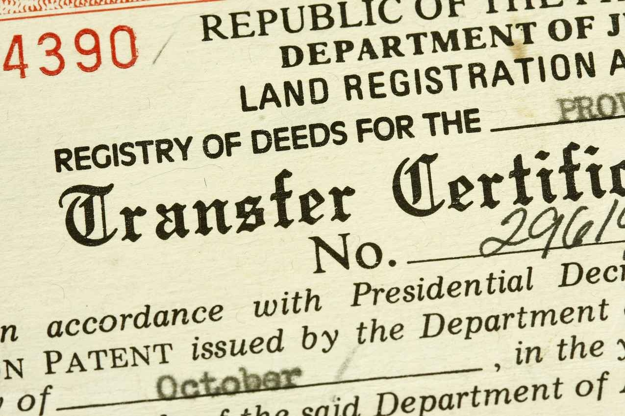 A land transfer certificate that is commonly used by retailers.