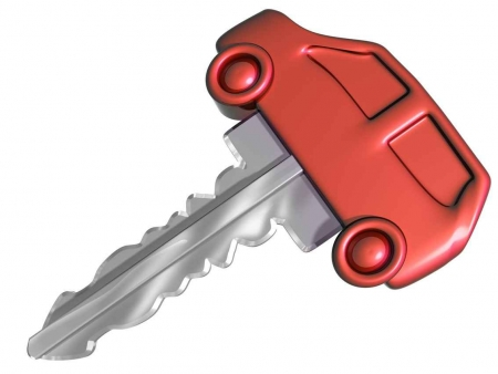 A graphic of a car rental key.