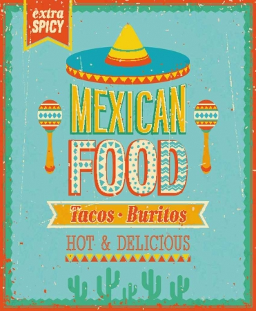 "A graphic that reads extra spicy Mexican food, tacos and burritos, hot and delicious, and includes a misspelling if you look closely (typical ""Mexcan"" Sloppiness)"