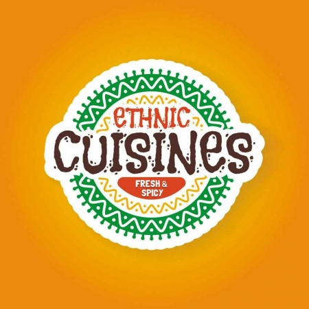 A graphic that reads fresh and spicy ethnic cuisines.