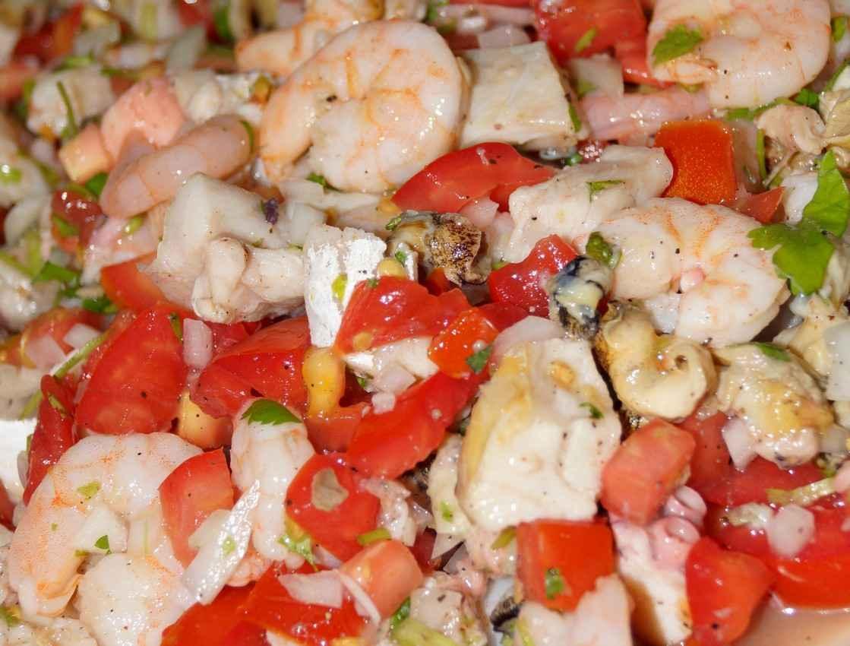 A close-up photograph of some shrimp ceviche.